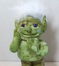My Green Troll is shy Polymer clay figurine by Peggers on Etsy
