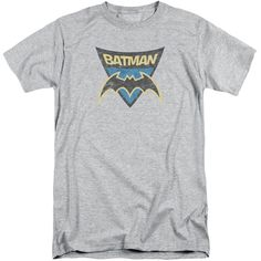 BATMAN BB/BATMAN SHIELD-S/S ADULT TALL-ATHLETIC HEATHER