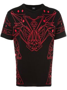 Shop Marcelo Burlon County Of Milan geometric wolf print T-shirt.