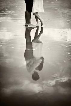 Black and White beach reflection save the date / engagement photo. via Charleston Weddings Blog