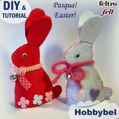 cartamodelli gratis per fare conigli decorazioni pasquali in feltro fai da te - DIY tutorial free pattern felt bunny creative sewing ideas Easter decoration