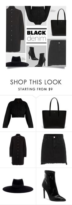 """""""Black On Black"""" by genovevajc ❤ liked on Polyvore featuring Yves Saint Laurent, Lacoste, River Island, Maison Michel, Jessica Simpson and allblackoutfit"""