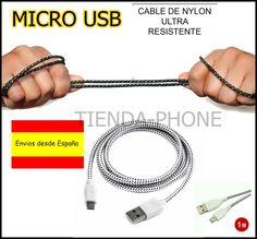 Cable cargador Nylon Anti enredo 1m PARA para Movil, DOOGE F3 PRO.BQ E5 E4 M5,5