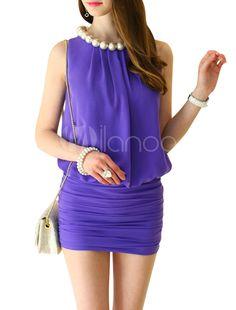 Super femenino http://www.milanoo.com/es/producto/vestido-sin-mangas-plisadas-mujeres-hermosas-bodycon-con-decoracion-de-perlas-p473873.html