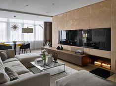 Beautiful living room, fireplace, amazing walls