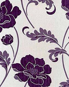 FD20333 - Classics Floral Acanthus Floral Flowers Silver / Purple Wallpaper