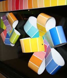 Use the Painted Palette Rainbow Paint Chip Border to create fun 3D pinwheels for your classroom window or put on a stick to mimic a real one!