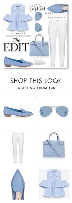 """""""Pretty blues"""" by siabellestyles ❤ liked on Polyvore featuring Nicholas Kirkwood, Ray-Ban, Steilmann, Kurt Geiger and Zara"""