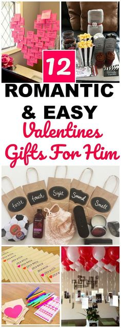 12 Valentines Day gifts for him that are romantic, sweet and easy DIY Valentines project ideas for a boyfriend, husband, or significant other. These are all thoughtful and unique gift ideas for him and are perfect for an anniversary or birthday too! Ideas include five senses, coupons, memories, fun food gifts and more! #valentinesday #giftsforhim #diygifts #boyfriend #valentinesdaygift