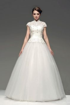 """This+classically+royal+ball+gown+lace+wedding+is+certainly+the+perfect+one+for+your+special+day!+The+graceful+wedding+gown+features+high-neckline,+short+sleeves+and+glittering+sequins.+(<span+style=""""color:+#ff0000;"""">Note<span+style=""""color:+#000000;"""">:Only+dress+included+in+original+sell,+veil,+necklace,streamer+and+other+accessories+not+included) $298.00"""