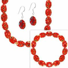 Sterling Silver Murano Glass Red Oval Millefiori Bracelet Earrings and Necklace Jewelry Set SilverSpeck.com. $29.99. Save 60%!