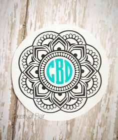 Transform the look of your water bottle, yeti cup, laptop, and more with a monogram mandala vinyl decal. This mandala decal comes in the size and