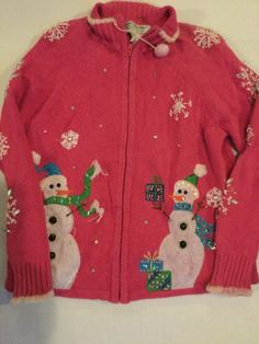 Christmas Sweater Women's PS Petite Small Pink SnowMen Zip Up Front Heirloom Col #HeirloomCollectibles #FullZip