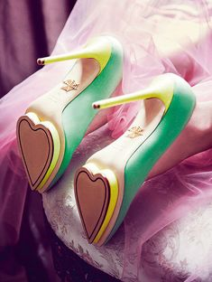 Heart soled yellow and green shoes. #Gorgeous #Wedding #Shoes