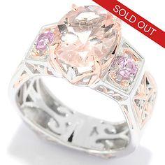139-425 - Gems en Vogue 2.45ctw Oval Morganite & Pink Sapphire Band Ring
