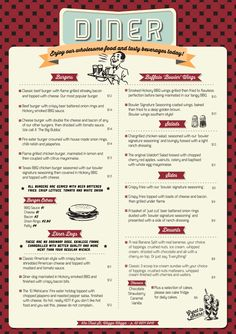 Wagga Bowl & Diner Menu by Allie Baird, via Behance: 1950 Diner, Vintage Diner, Retro Diner, Vintage Menu, Vintage Ideas, Menu Bar, Diner Menu, Cafe Menu, Diner Food