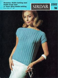 Items similar to PDF Vintage Womens Ladies Knitting Pattern Larger Sizes EASY Drop Shoulder Summer Top Boat Slash Sex Kitten Baby Doll Sirdar 2202 on Etsy Knitting Wool, Easy Knitting, Vintage Knitting, Double Knitting, Jumper Patterns, Vintage Patterns, Knitting Patterns, Crochet Patterns, Jumpers For Women