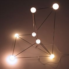 Astrohedron (Orion) light sculpture LED, steel rods, ABS plastic, cabels 53 x 49 x 32 cm (or variable) © 2010 - 2013 Fredrik Skåtar The constellation Orion, as we know it, is only visible from earth. Its stars are located on various distances from us (ranging from 243 to 1342 light years) which means that the structure looks completely different from another position in outer space. Astrohedron (Orion) is a microscale visualization of the actual positions of Orion's main stars.