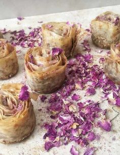 Try this rose baklava recipe. This super easy baklava recipe is sweet, crunchy and simple to make. Easy baklava recipe from the cookbook Cook for Syria Arabic Sweets, Arabic Food, Arabic Dessert, Just Desserts, Dessert Recipes, Dessert Food, Mini Cupcake Pan, Fudge, Sweet Recipes