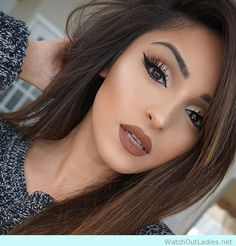 Awesome brown hair and make-up love her golden detail