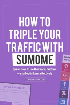 How To Double Your Website Traffic With SumoMe // Do you want to increase your traffic? Install SumoMe. For free. t's a plugin that will help you generate more traffic through their unique social share buttons, email opt-in forms, analytics & Discover (an app to promote your content to 150,000+ SumoMe users).
