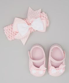 Another great find on #zulily! Stepping Stones Pink Bow Mary Jane & Headband by Stepping Stones #zulilyfinds