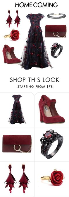 """Homecoming"" by jessica-marshall-ii ❤ liked on Polyvore featuring Oscar de la Renta, Dune, Chloé and LULUS"