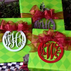 Wood monograms on Christmas packages, then use them as ornaments!