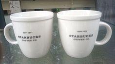 Pair of white Starbucks Barista Mugs Est. 1971 large 16oz ceramic dishwasher saf