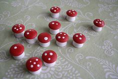 Math mushrooms! No instructions, just a pic, but very simple to make: Purchase wooden drawer pulls and paint with joy!