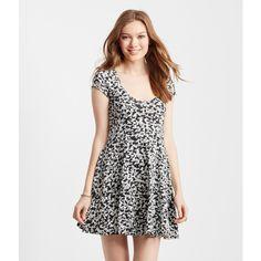 Aeropostale Geo Skater Dress ($20) ❤ liked on Polyvore featuring dresses, black, geometric print dress, cotton dress, flared skater dress, geometric dress and cotton flare dress