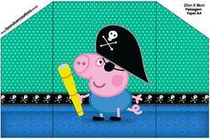 Envelope Convite George Pig Pirata: