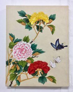 3번째 이미지 Peony Painting, Acrylic Painting Flowers, Watercolor Flowers, Korean Painting, Chinese Painting, Chinese Art, Vintage Botanical Prints, Botanical Art, Korean Art