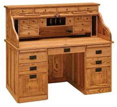 Amish Presidentu0027s Style Roll Top Desk
