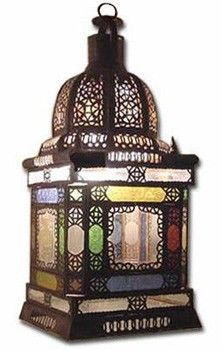 Moroccan talisman lantern handcrafted in Marrakech, morocco, square glass candle lantern, for outdoor, garden, patio,