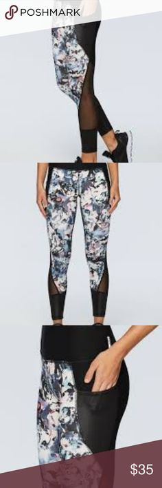 """NEW RBX STUDIO ABSTRACT FLORAL TECH POCKET LEGGING Practice your poses in these abstract floral 24"""" inseam ankle leggings. Strategically placed mesh inserts on the lower leg are great for extra ventilation and comfort during any activity. Shine detail on the ankle and tech pocket provide an extra fashion detail to your outfit. Tech pocket is perfect for storing your phone while you workout. These are a fashionable legging that you can wear from the studio to the street! RBX Pants Leggings"""
