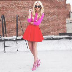 <pink//red in my new @schutzshoes >