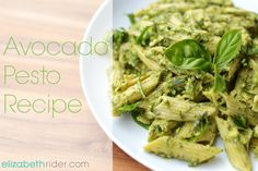 New Favorite Summer Recipe: Avocado Pesto With Arugula  Basil. Get more healthy summer recipes at www.elizabethrider.com