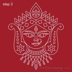 This page provides Durga Rangoli Designs with title Durga Alpana 2 for Hindu festivals and events dedicated to Goddess Durga including Durga Puja and Navratri. Easy Rangoli Designs Videos, Rangoli Border Designs, Rangoli Designs Images, Art Designs, Worli Painting, Durga Painting, Fabric Painting, Pichwai Paintings, Indian Art Paintings