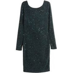 H&M Glittery Dress $24.99 (£20) ❤ liked on Polyvore featuring dresses, long sleeve fitted dress, drape wrap dress, short fitted dresses, tight dresses and short dresses
