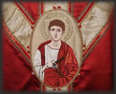 Ricamo si San Tommaso.  Embroidery of St. Thomas on chasuble.