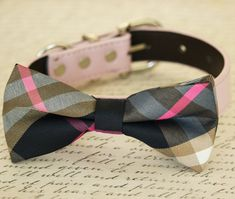 Plaid dog bow tie collar, bow attached to dog collar, Dog Birthday gift, dog lovers, Pet wedding accessory, dog Collar