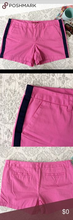 """New Fall Inventory Opening August 20 New Fall Inventory Opening August 20. Merona Tuxedo stripe Shorts, Size 14. 3"""" inseam. Hot pink Twill with navy stripe. Cute fall outfit paired with a lightweight sweater for those of you outside of my Midwest. Good condition, some fading. Bundle for additional discounts and seller offers. Merona Shorts"""