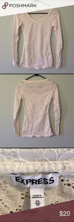 Express cream colored sheer lace top Long sleeved, nice stretch. Never worn. 97% nylon 3% spandex Express Tops Tees - Long Sleeve