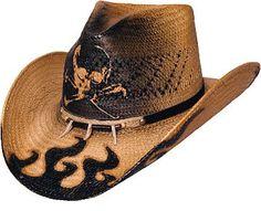 f40c319ad9eea Bullhide Dangerous Skull and Flame Straw Cowboy Hat
