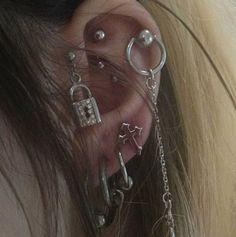 ~ Her piercings Ear Jewelry, Cute Jewelry, Body Jewelry, Jewellery, Skull Jewelry, Jewelry Accessories, Vintage Goth, Pretty Ear Piercings, Grunge Jewelry
