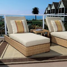 Outdoor Wicker Chaise Lounge | Maine Cottage