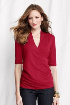 Women's Elbow Sleeve Lightweight Cotton Modal Crossover Top from Lands' End
