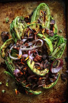 Grilled Romaine, Red Onion, Avocado and Bacon Salad - Heather Christo - Salad Recipes Nectarine Salad, Pickled Cherries, Bacon Salad, Grilled Romaine Salad, Grilled Romaine Hearts, Grilled Avocado, Bacon On The Grill, Balsamic Dressing, Cooking Recipes