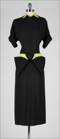Vintage 1940s dress, black and chartreuse by millstreetvintage. Is it possibly for a vintage dress to be any cute?!!!! Women's vintage fashion clothing outfit for fall